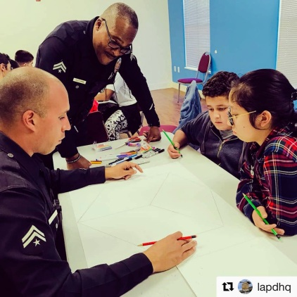 Watts class with LAPD officers